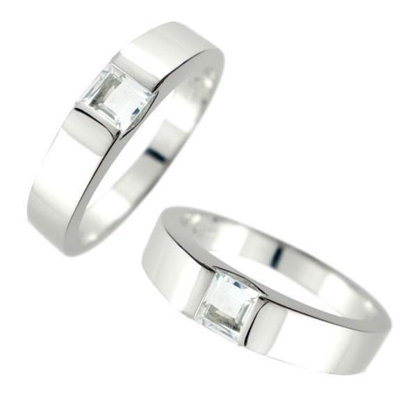 メンズ ペアリング 幅広 指輪 アクアマリン シルバー 男性用 3月誕生石 トラスト プレゼント 女性 送料無料