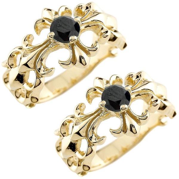 メンズ ペアリング ブラックダイヤモンド クロス ダイヤ 幅広 指輪 イエローゴールドk18 18金 男性用 リング 地金リング トラスト 女性 送料無料