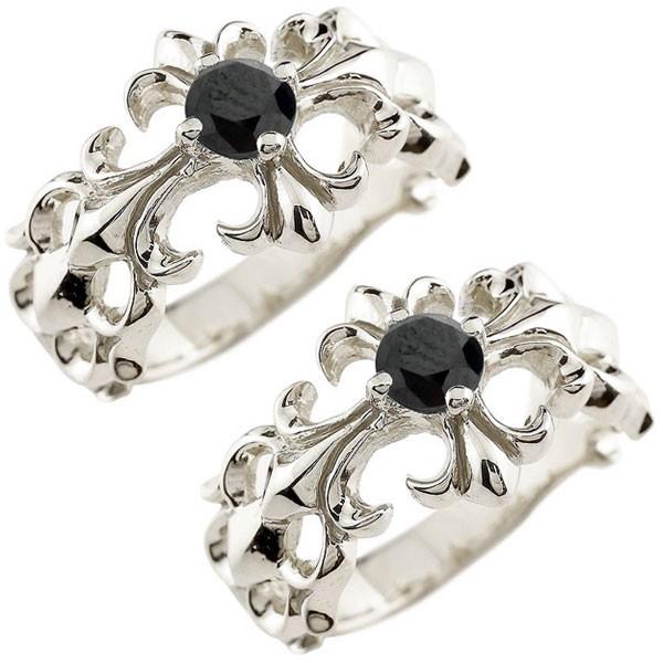 メンズ ペアリング ブラックダイヤモンド クロス ダイヤ 幅広 指輪 ホワイトゴールドk10 10金 男性用 リング 地金リング トラスト 女性 送料無料