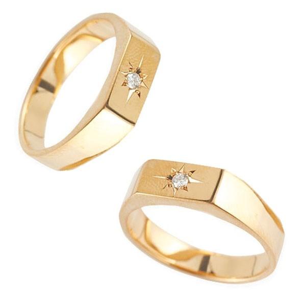 メンズ ペアリング ダイヤモンド 印台 指輪 ピンクゴールドk18 18金 男性用 リング ダイヤリング トラスト プレゼント 女性 送料無料