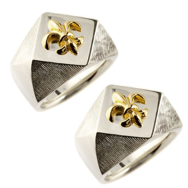 結婚指輪 メンズ ペアリング プラチナ pt900 印台 幅広 指輪 ユリの紋章 イエローゴールドk18 コンビリング ペアリング 18金 トラスト フルール・ド・リス