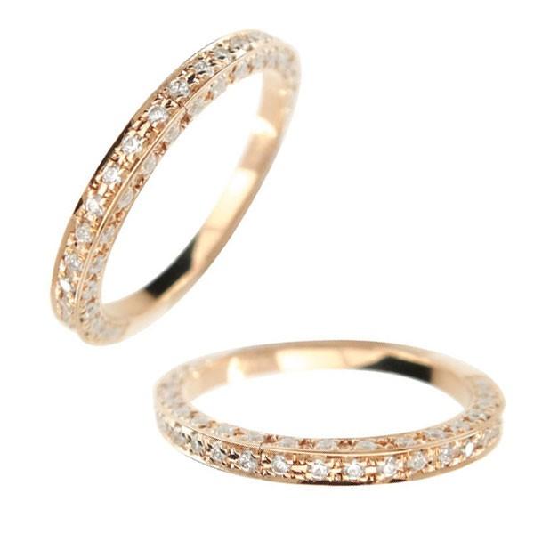 レディース ペアリング マリッジリング 結婚指輪 ダイヤモンド エタニティ エタニティリング ハーフエタニティ ピンクゴールドk18 18金 ダイヤ ストレート