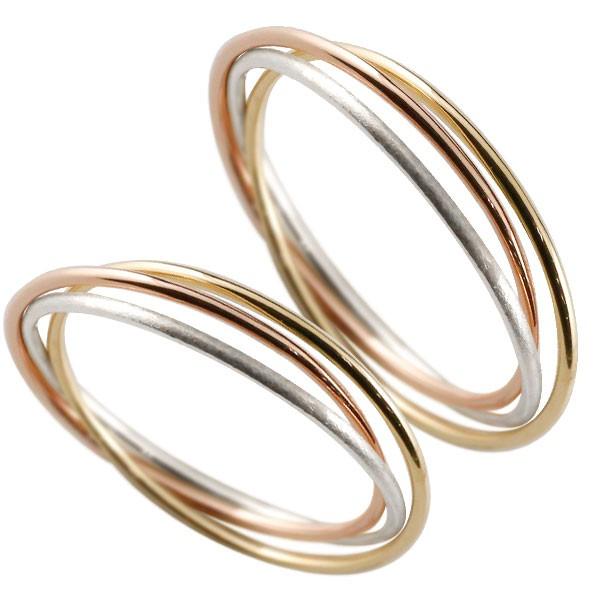 結婚指輪 ペアリング プラチナ ピンクゴールドk18 イエローゴールド k18 pt900 指輪 華奢 重ね付け 3連 3色 リング 宝石なし 18金 女性 送料無料