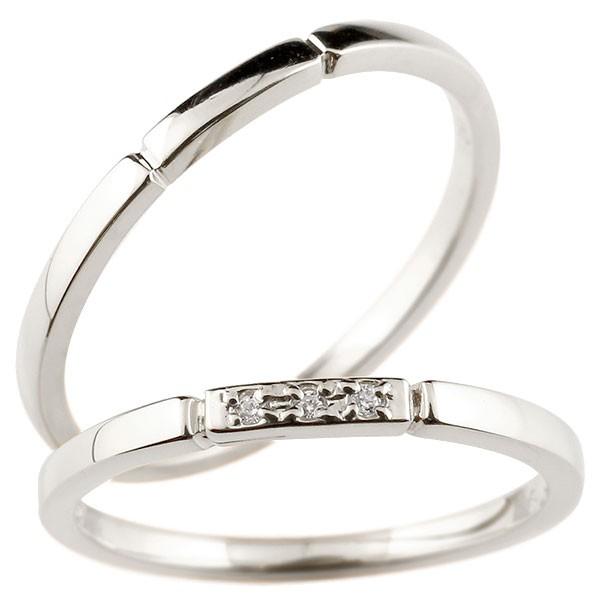 ペアリング ホワイトゴールドk10 ダイヤモンド スイートペアリィー 結び 結婚指輪 マリッジリング リング 10金 華奢 ストレート プレゼント 女性 送料無料