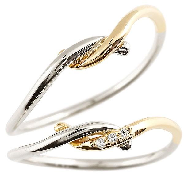 【有名人芸能人】 ペアリング プラチナ 18金 結婚指輪 イエローゴールドk18 ダイヤモンド スイートペアリィー 結び 結婚指輪 マリッジリング リング pt900 華奢 コンビ の 2個セット の 送料無料, 激安特価 e2a2fecc