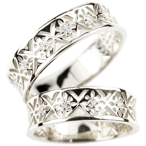 結婚指輪 婚約指輪 ペアリング プラチナ ダイヤモンド エンゲージリング ダイヤ 指輪 幅広 pt950 透かし 結婚指輪 マリッジリング リング 宝石 カップル