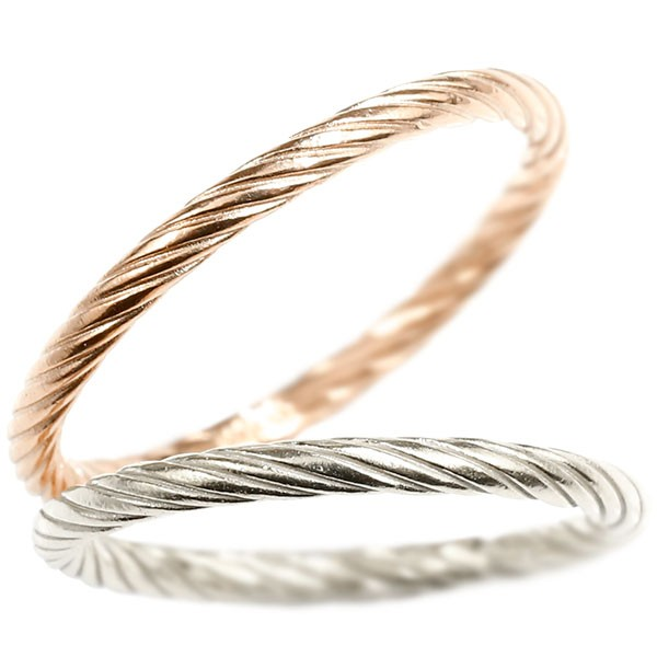 ペアリング ホワイトゴールドk10 ピンクゴールドk10 指輪 エンドレスロープ 10金 ストレート 地金 結婚指輪 マリッジリング 重ね付け リング カップル 送料無料