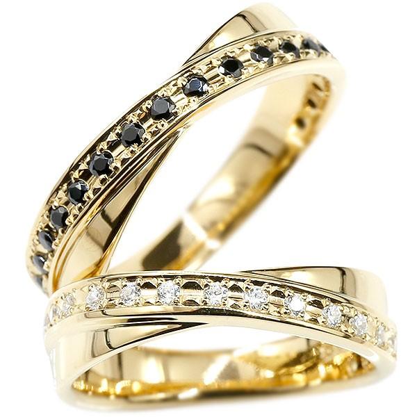 婚約指輪 ペアリング イエローゴールドk10 指輪 キュービックジルコニア ブラックキュービック 10金 結婚指輪 マリッジリング リング カップル 送料無料
