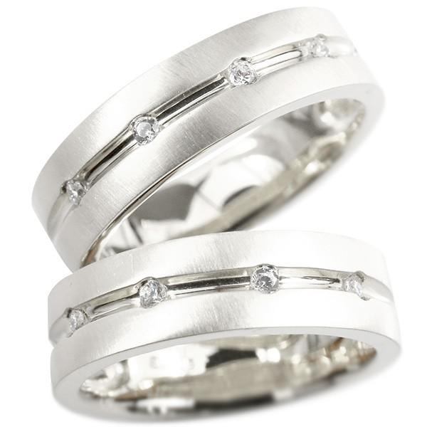 ペアリング プラチナ ダイヤモンド 指輪 幅広 ホーニング加工 つや消し pt900 ダイヤ 結婚指輪 マリッジリング リング カップル 送料無料