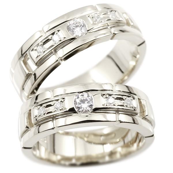 ペアリング シルバー925 キュービックジルコニア エンゲージリング 指輪 幅広 ピンキーリング マリッジリング 婚約指輪 sv925 宝石 カップル ストレート
