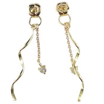 18金 ピアス ダイヤモンド ピアスキャッチ k18 ロングデザイン ダイヤ 贈り物 誕生日プレゼント ギフト ファッション