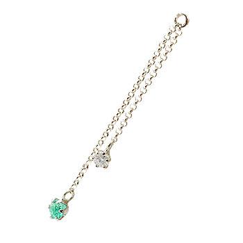 ピアス プラチナ 1個 パーツ ピアス用 イヤリング用 プラチナ エメラルド ダイヤモンド シンプル レディース 宝石