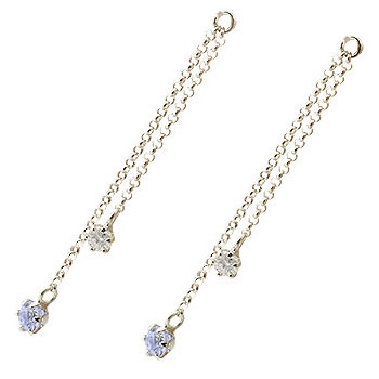 ピアス プラチナ 2個 パーツ ピアス用 イヤリング用 プラチナ タンザナイト ダイヤモンド シンプル レディース 宝石