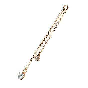 1個 パーツ ピアス用 イヤリング用 ピンクゴールドk18 アクアマリン ダイヤモンド シンプル レディース 宝石