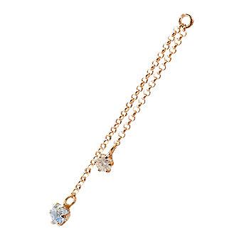1個 パーツ ピアス用 イヤリング用 ピンクゴールドk18 ブルームーンストーン ダイヤモンド シンプル レディース 宝石