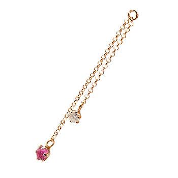 1個 パーツ ピアス用 イヤリング用 ピンクゴールドk18 ルビー ダイヤモンド シンプル レディース 宝石