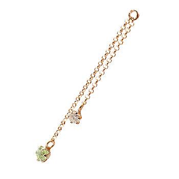 1個 パーツ ピアス用 イヤリング用 ピンクゴールドk18 ペリドット ダイヤモンド シンプル レディース 宝石
