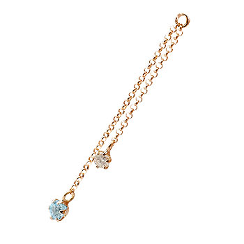 1個 パーツ ピアス用 イヤリング用 ピンクゴールドk18 ブルートパーズ ダイヤモンド シンプル レディース 宝石