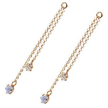 2個 パーツ ピアス用 イヤリング用 ピンクゴールドk18 タンザナイト ダイヤモンド シンプル レディース 宝石