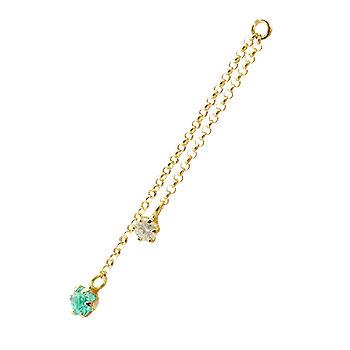 1個 パーツ ピアス用 イヤリング用 イエローゴールドk18 エメラルド ダイヤモンド シンプル レディース 宝石