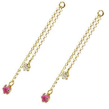 2個 パーツ ピアス用 イヤリング用 イエローゴールドk18 ルビー ダイヤモンド シンプル レディース 宝石