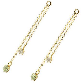 2個 パーツ ピアス用 イヤリング用 イエローゴールドk18 ペリドット ダイヤモンド シンプル レディース 宝石