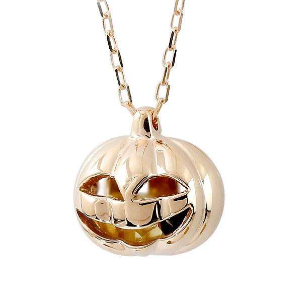 ネックレス ハロウィン カボチャ ピンクゴールドk10 シトリン オニキス ペンダント ジャック・オー・ランタン かぼちゃ 10金 レディース
