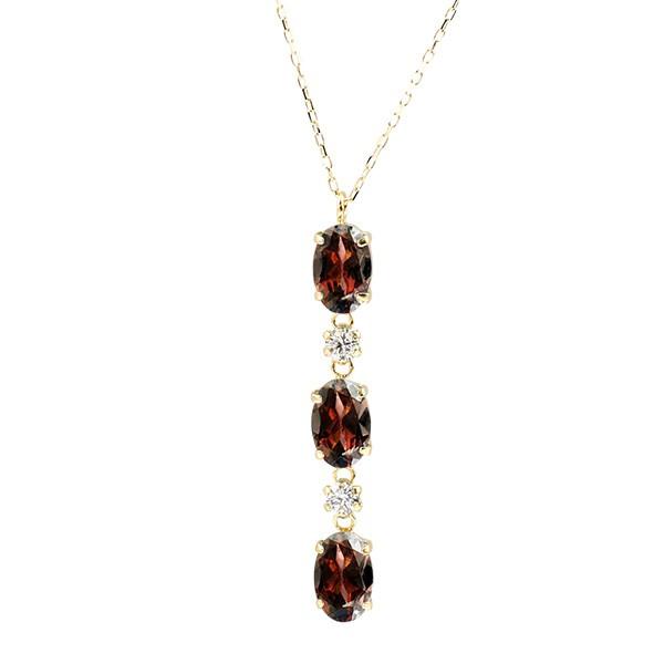 ネックレス イエローゴールドk10 ガーネット ダイヤモンド ダイヤ ネックレスペンダント チェーン レディース 天然石 トリロジー 人気 1月誕生石 k10 10金
