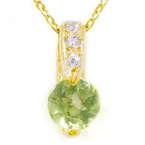 ペリドット ダイヤモンド ペンダント ネックレス イエローゴールドK18 ダイヤ 18金 レディース 宝石 送料無料