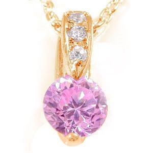 ピンクキュービックジルコニア ペンダント ネックレス ダイヤモンド ピンクゴールドK18 ダイヤ 18金 レディース 送料無料