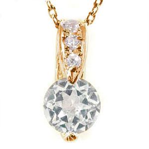アクアマリン ダイヤモンド ペンダント ネックレス ピンクゴールドK18 ダイヤ 18金 レディース 宝石 送料無料