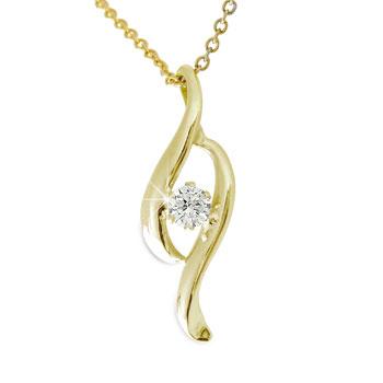 一粒 ダイヤモンド ペンダント ネックレス ダイヤ イエローゴールドk18 18金 レディース 送料無料