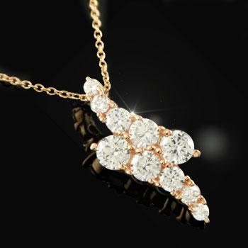 ダイヤモンド ネックレス ペンダント ピンクゴールドk18 ダイヤ 18金 レディース 送料無料
