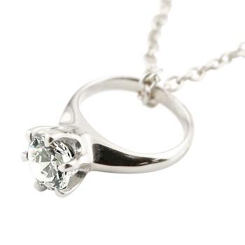 ベビーリングダイヤモンド ペンダントネックレス 一粒 ホワイトゴールドK18 ダイヤ 18金 ストレート 立爪 レディース 送料無料