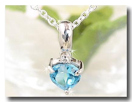 ブルートパーズペンダントネックレス ダイヤモンド ホワイトゴールドK18 ハート ダイヤ 18金 レディース 宝石 送料無料