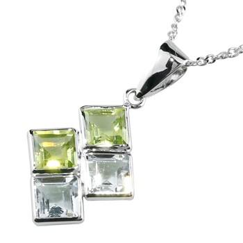 ペリドットアクアマリンペンダントネックレス ホワイトゴールドK18 18金 レディース 宝石 送料無料
