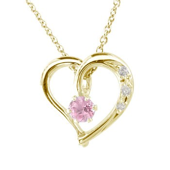 ダイヤモンド オープンハート ネックレス イエローゴールドK18 ピンクサファイア 9月の誕生石 ハート カラーストーン K18 ダイヤ 18金 レディース 宝石 送料無料