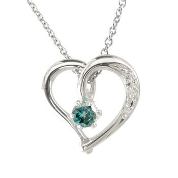 ダイヤモンド オープンハート プラチナネックレス 一粒 ブルーブルーブルー ダイヤ ハート プラチナ ダイヤ レディース 送料無料