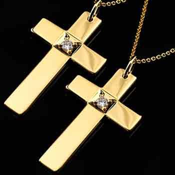ペアペンダント クロス ペンダント ダイヤモンド 営業 ネックレス 引出物 イエローゴールドk18 18金 送料無料 ダイヤ カップル レディース