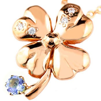 クローバー ネックレス アメジスト 四葉 ダイヤモンド ダイヤ ペンダント 2月誕生石 ピンクゴールドk18 レディース チェーン 人気 18金 送料無料