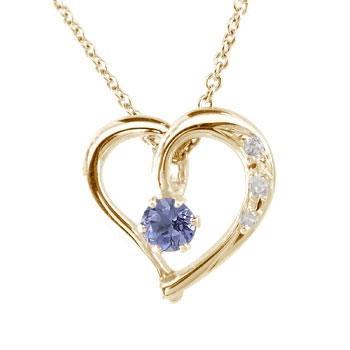 ネックレス ダイヤモンド オープンハート アイオライト ハート ピンクゴールドK18 パワーストーン チェーン 人気 18金 ダイヤ レディース 宝石 送料無料