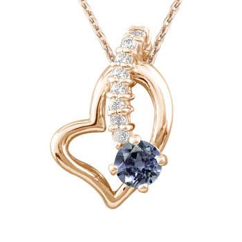 ダイヤモンド オープンハート アイオライト 流れ星 ペンダントネックレス ピンクゴールドK18 ダイヤ 18金 レディース 宝石 送料無料