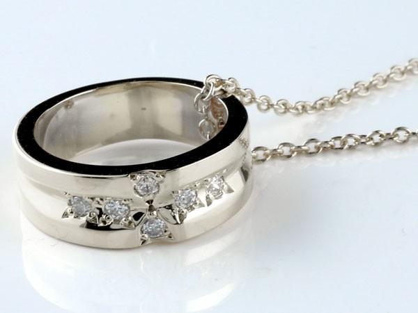 クロスリングネックレス ダイヤモンド プラチナ ペンダント ダイヤ レディース チェーン 人気 ストレート 送料無料PXTZOiku