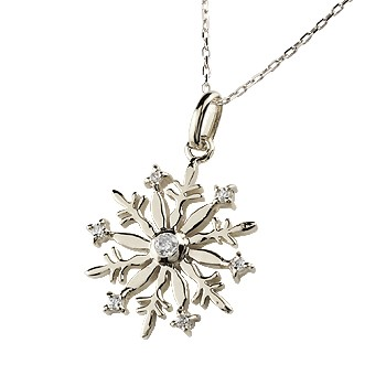 雪の結晶 ネックレス ダイヤモンド ペンダント ホワイトゴールドk18 ダイヤ スノーモチーフ 18金 レディース チェーン 人気 送料無料