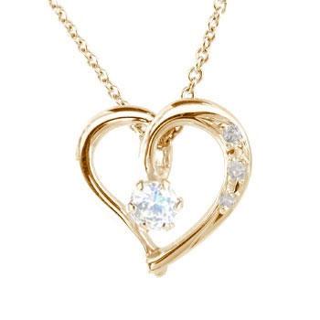 ネックレス ダイヤモンド オープンハート ブルームーンストーン 6月誕生石 ピンクゴールドK18 ダイヤ 18金 レディース 宝石 送料無料
