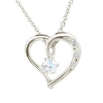 ネックレス ダイヤモンド オープンハート ブルームーンストーン プラチナ 6月誕生石 ダイヤ レディース 宝石 送料無料