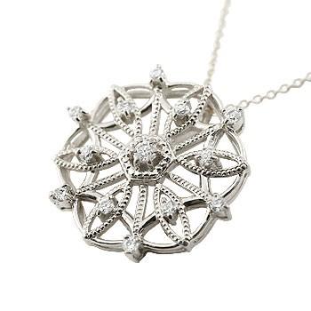 雪の結晶 プラチナ ネックレス ダイヤモンド ペンダント ダイヤ スノーモチーフ アンティーク レディース チェーン 人気 送料無料