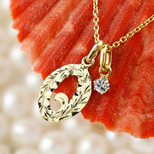 ハワイアンジュエリー 数字 0 ダイヤモンド ネックレス ペンダント イエローゴールドk18 ナンバー レディース チェーン 人気 4月誕生石 18金 送料無料