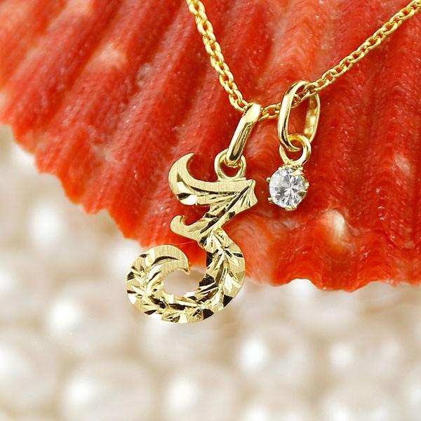 ハワイアンジュエリー 数字 3 ダイヤモンド ネックレス トップ ペンダント イエローゴールドk10 ナンバー レディース チェーン 人気 4月誕生石 10金 送料無料