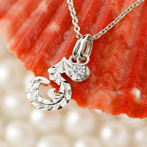 ハワイアンジュエリー 数字 5 ダイヤモンド ネックレス トップ ペンダント シルバー ナンバー レディース チェーン 人気 4月誕生石 送料無料